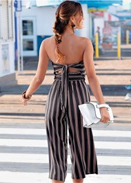 Back View Strapless Stripe Jumpsuit