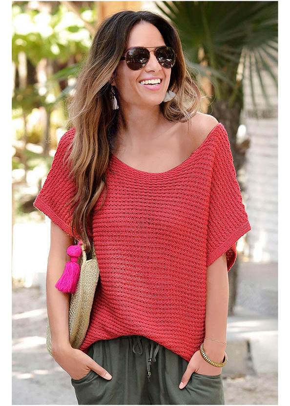 Open Knit Sweater,Triangle Hem Jeans,Mid Rise Color Skinny Jeans,High Heel Strappy Sandals,Embellished Wedges,Oversized Tassel Earrings