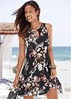 Front View Floral Printed Casual Dress