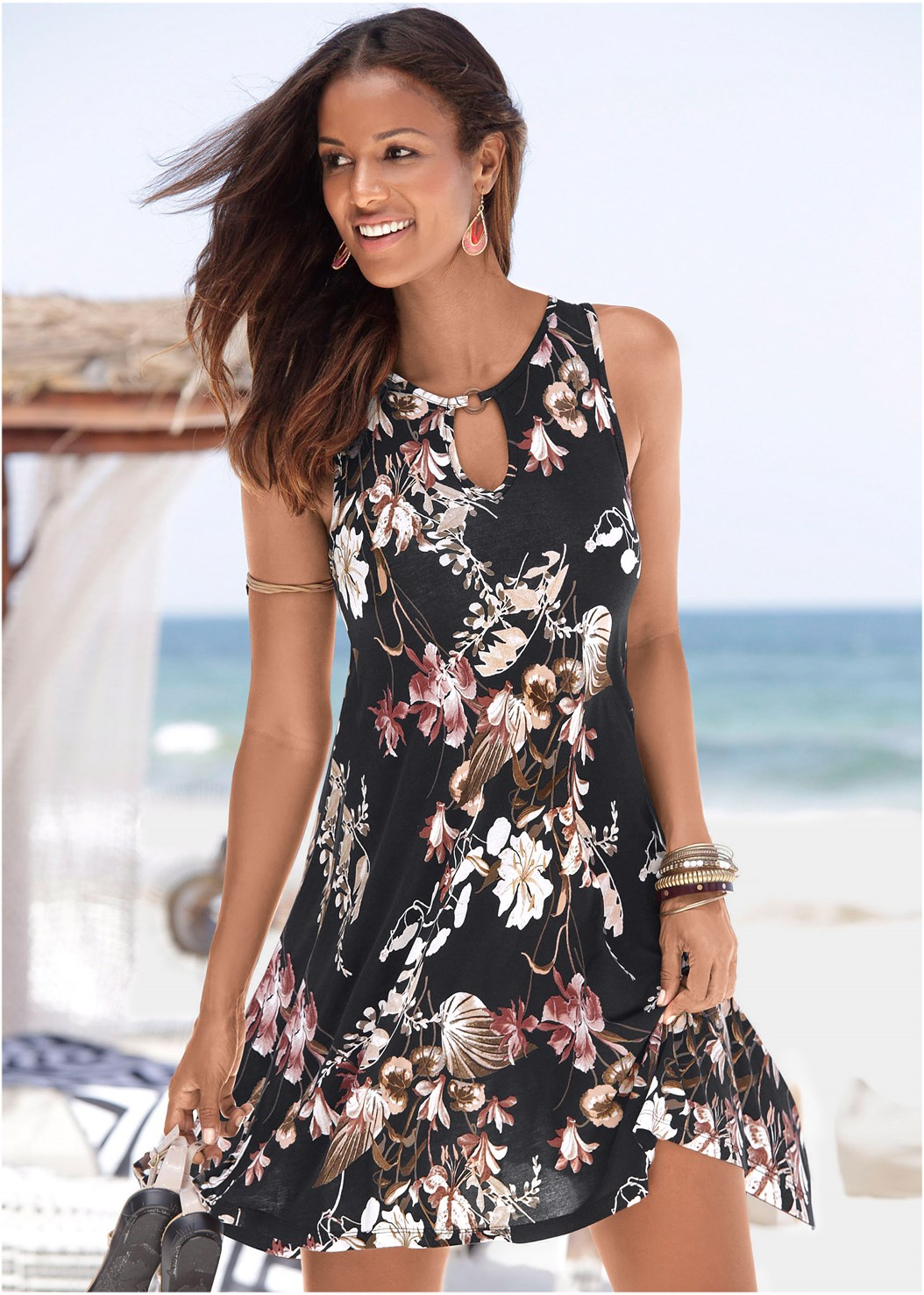 Floral Printed Casual Dress,Naked T-Shirt Bra,Long Circle Earrings