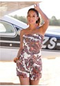 Front View Strapless Paisley Romper