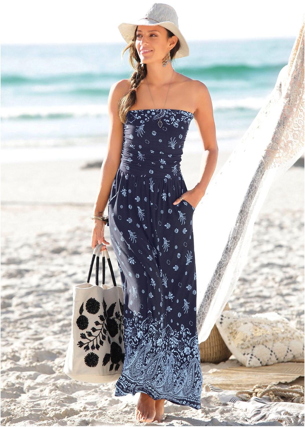 Strapless Print Maxi Dress,Studded Flip Flops,Statement Earrings
