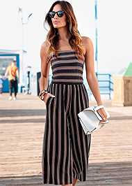 Front View Strapless Stripe Jumpsuit