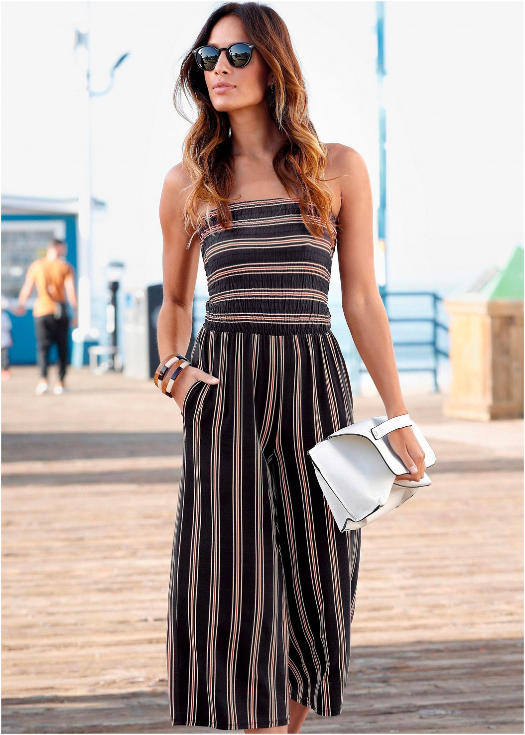 Strapless Stripe Jumpsuit,Transparent Studded Heels