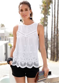 Front View Eyelet Top