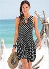 Cropped Front View Polka Dot Casual Dress
