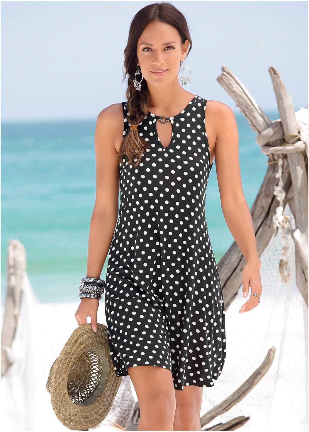 Polka Dot Casual Dress,Push Up Bra Buy 2 For $40