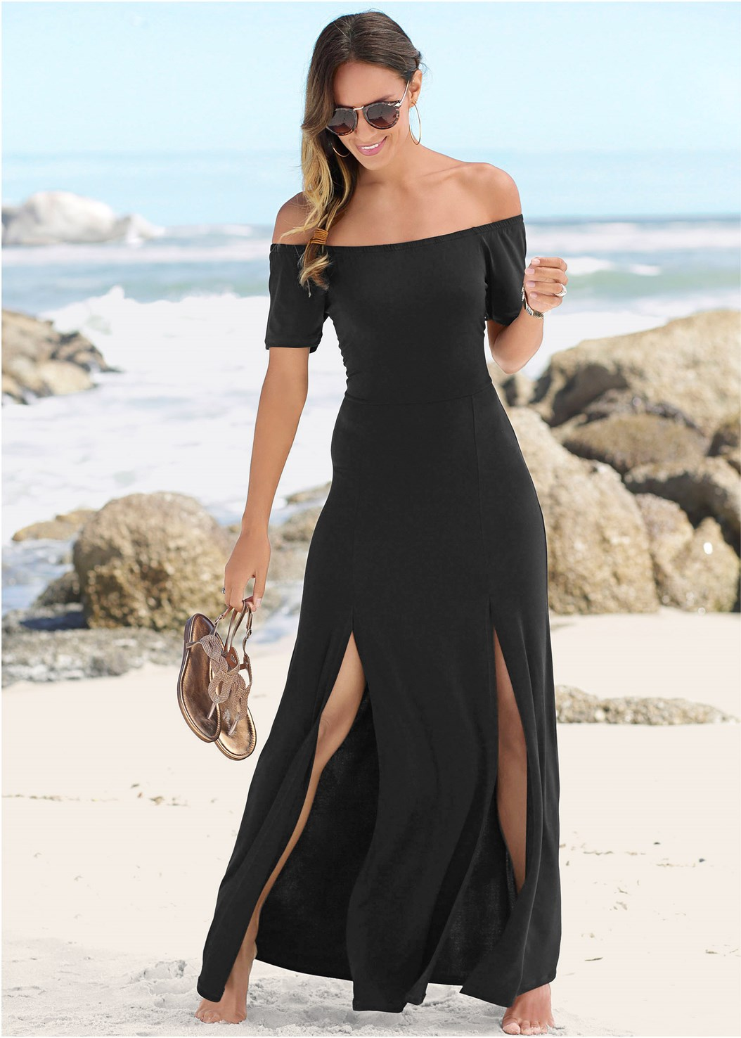 Slit Detail Maxi Dress,Full Figure Strapless Bra,Metallic Strap Sandals,Long Link Necklace,Circular Straw Bag,Beaded Crossbody