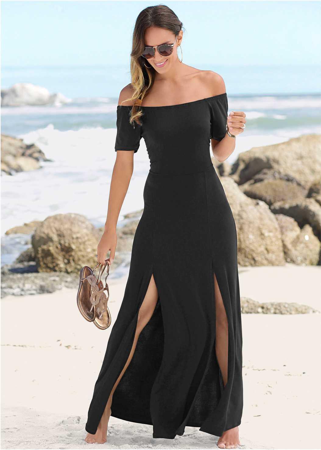 Slit Detail Maxi Dress,Metallic Strap Sandals