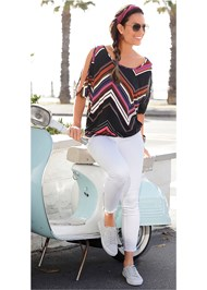 Alternate View Cold Shoulder Chevron Top