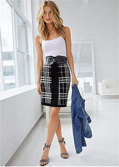 houndstooth belted skirt
