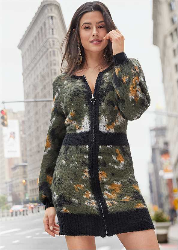 Zip Up Sweater Dress,Kissable Strappy Push Up,Bauble Hoop Earrings