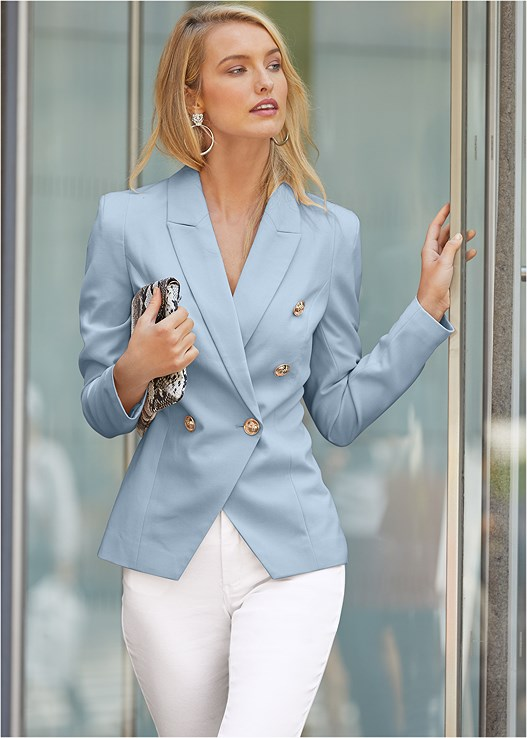 DOUBLE BREASTED BLAZER,COLOR SKINNY JEANS,LACE BACK DETAIL BRA,CIRCLE DETAIL BOOTIES,PYTHON CLUTCH