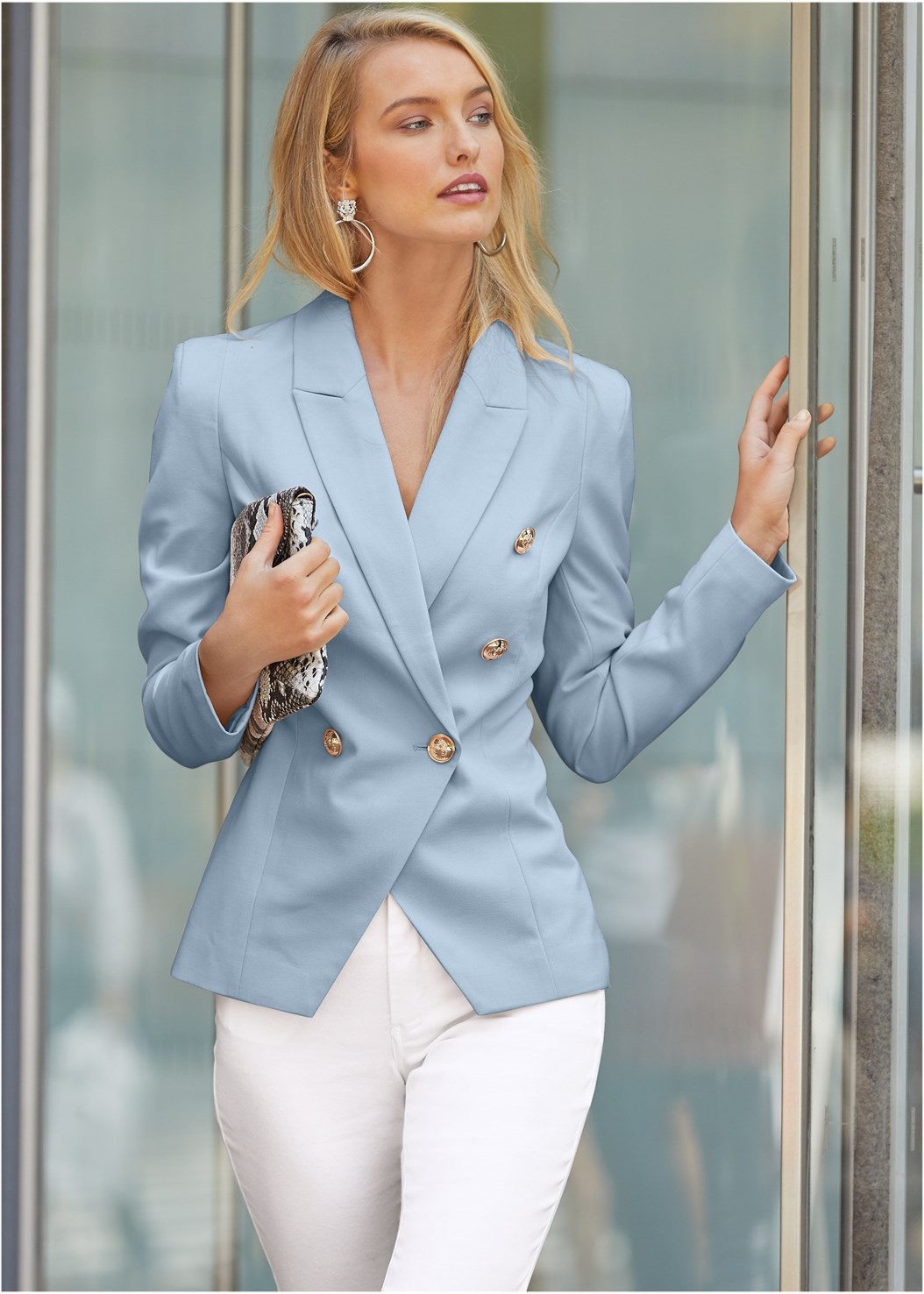 Double Breasted Blazer,Color Skinny Jeans,Circle Detail Booties,Tiger Detail Earrings,Long Medallion Necklace,Python Clutch