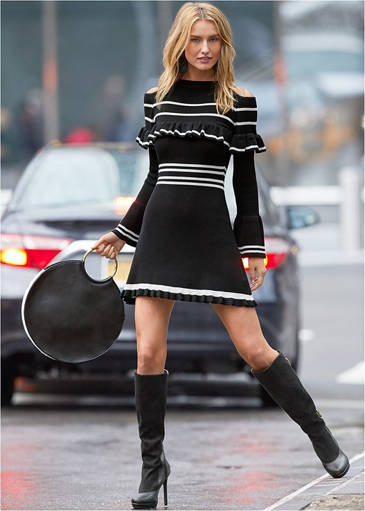 STRIPE PRINT SWEATER DRESS,VERY STRAPPY CONTOUR BRA,BUCKLE DETAIL BOOTS,POINTED TOE ANKLE BOOTIE,RING DETAIL OVERSIZED BAG