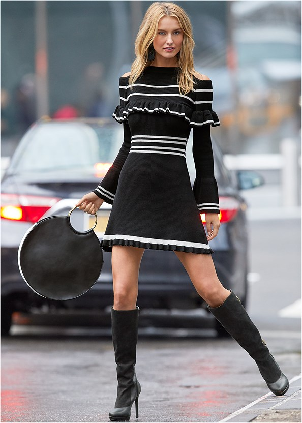 Stripe Print Sweater Dress,Buckle Detail Boots,Tie Back Boots,Beaded Tassel Earrings,Ring Detail Oversized Bag,Pearl Knit Beanie