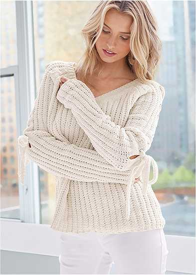 Tie Sleeve Chenille Sweater
