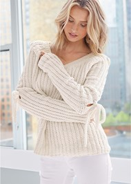 Front View Tie Sleeve Chenille Sweater