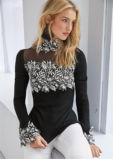 Floral Applique Sweater