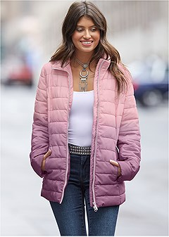 plus size ombre puffer coat