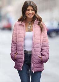Cropped Front View Ombre Puffer Coat