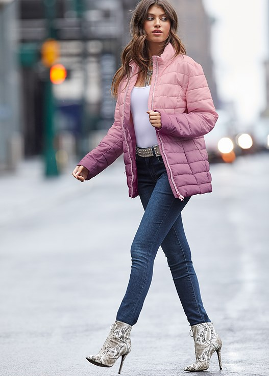 OMBRE PUFFER COAT,SEAMLESS CAMI,COLOR SKINNY JEANS,KISSABLE STRAPPY PUSH UP,CIRCLE DETAIL BOOTIE,STUD DETAIL BELT
