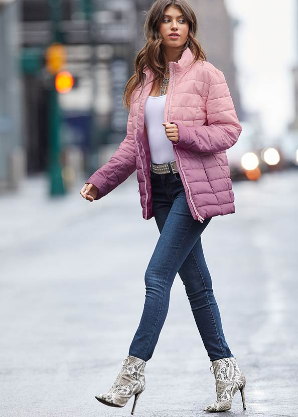Ombre Puffer Coat,Basic Cami Two Pack,Mid Rise Color Skinny Jeans,Kissable Strappy Push Up,Circle Detail Booties