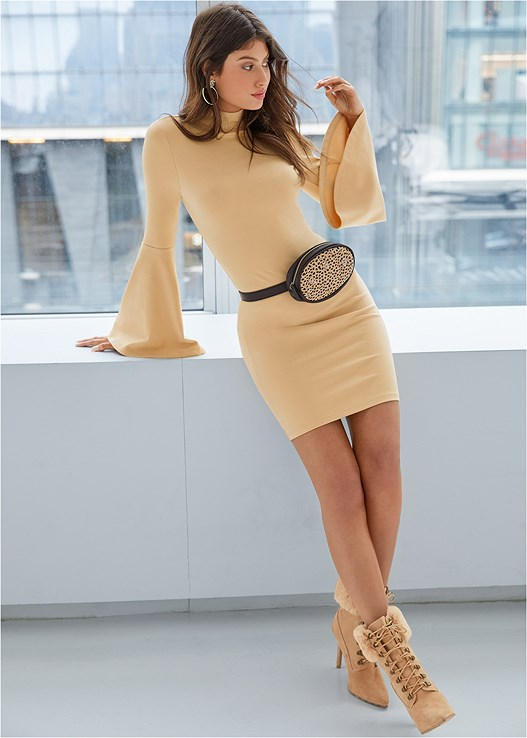 BELL SLEEVE DRESS,CONFIDENCE BUSTLESS SLIP,PRINT BELT BAG
