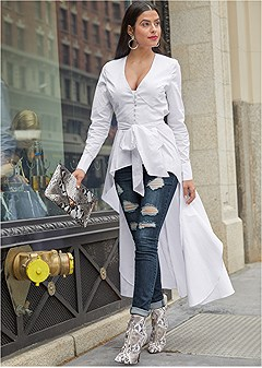 high low tie front blouse