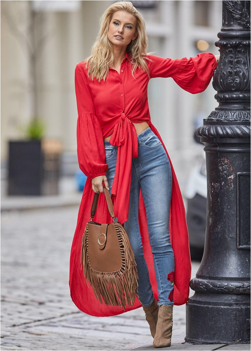 Tie Front High Low Top,Rose Embroidered Jeans,Cage Contour Bra,Embellished Lucite Heel,Fringe Handbag,Twist Hoop Earring
