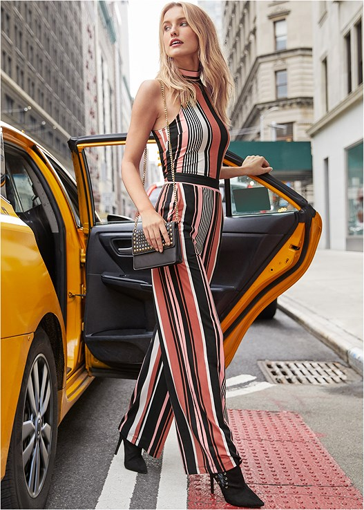 STRIPE JUMPSUIT,SMOOTH LONGLINE PUSH UP BRA,LUCITE DETAIL HEELS,QUILTED BELT BAG,FRINGE CROSSBODY
