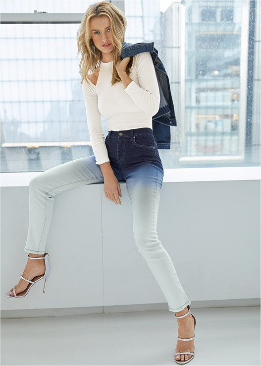 OMBRE JEANS,RIBBED LONG SLEEVE TOP,SEQUIN DETAIL JEAN JACKET,KISSABLE STRAPPY PANTIES,HIGH HEEL STRAPPY SANDALS