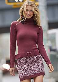 Front View Belted Sweater Dress