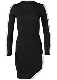 Alternate View Popper Detail Ribbed Dress