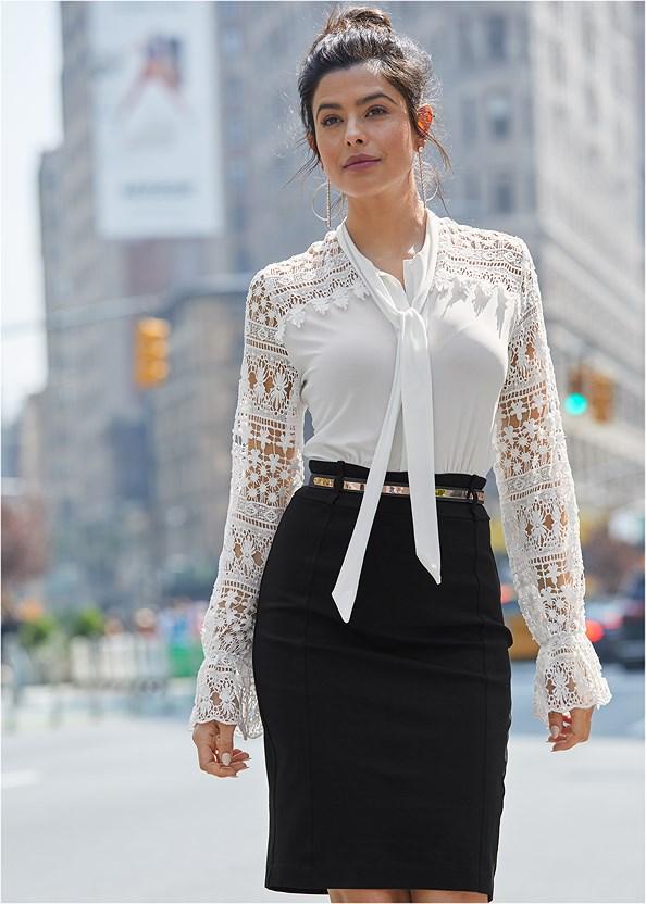 Lace Detail Dress,Stud Detail Lucite Heels