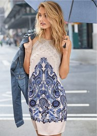 Front View Printed Lace Dress