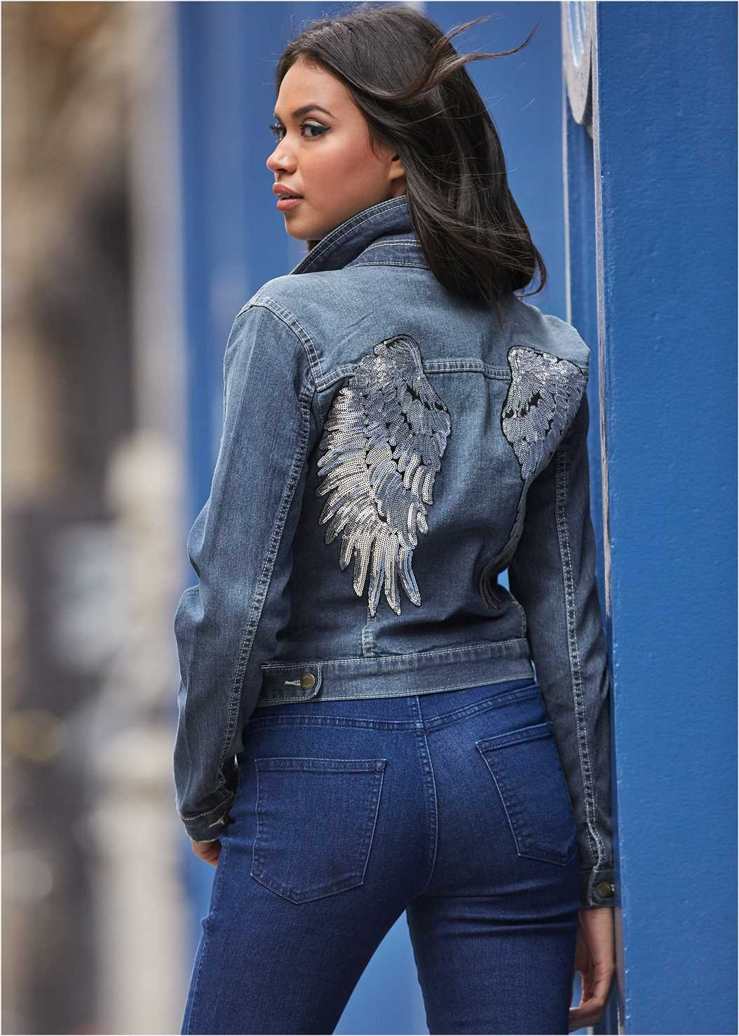 Sequin Detail Jean Jacket,Basic Cami Two Pack,Mid Rise Color Skinny Jeans,Studded Belt Bag