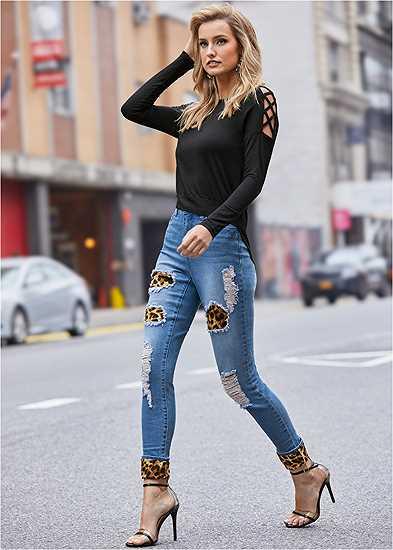Leopard Cuffed Jeans