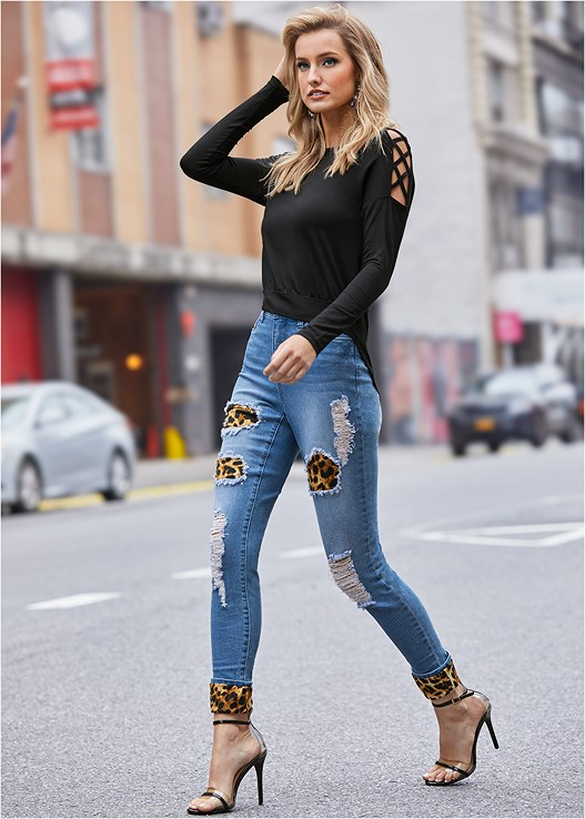 LEOPARD CUFFED JEANS,SLEEVE DETAIL TOP,LACE BACK HIPSTER PANTIES,LUCITE DETAIL HEELS,PLATFORM HEELS,EMBELLISHED EARRINGS