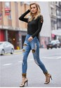 Front View Leopard Cuffed Jeans