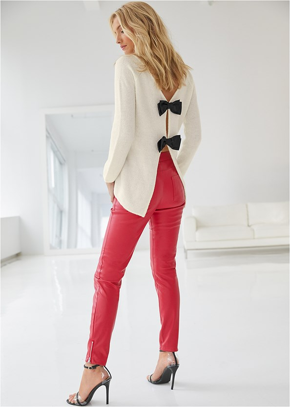 Faux Leather Pants,Bow Detail Sweater,Seamless Cut Out Top,Lucite Detail Heels,Tiger Detail Earrings