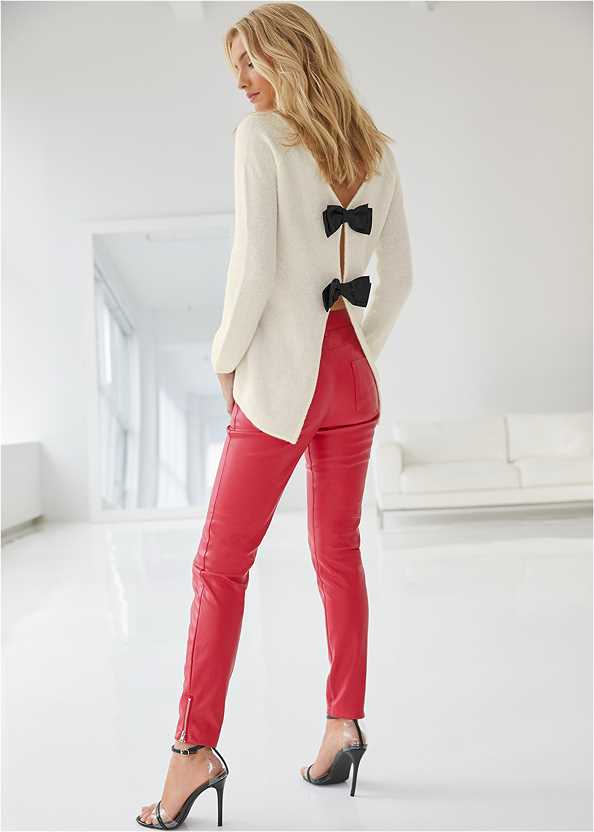 Faux Leather Pants,Bow Detail Sweater,Seamless Cut Out Top,Lucite Detail Heels