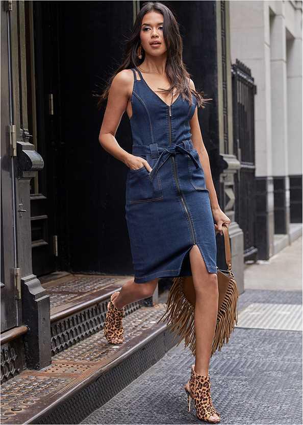 Denim Dress With Zipper,Cupid U Plunge Bra,Peep Toe Print Heels,Fringe Handbag