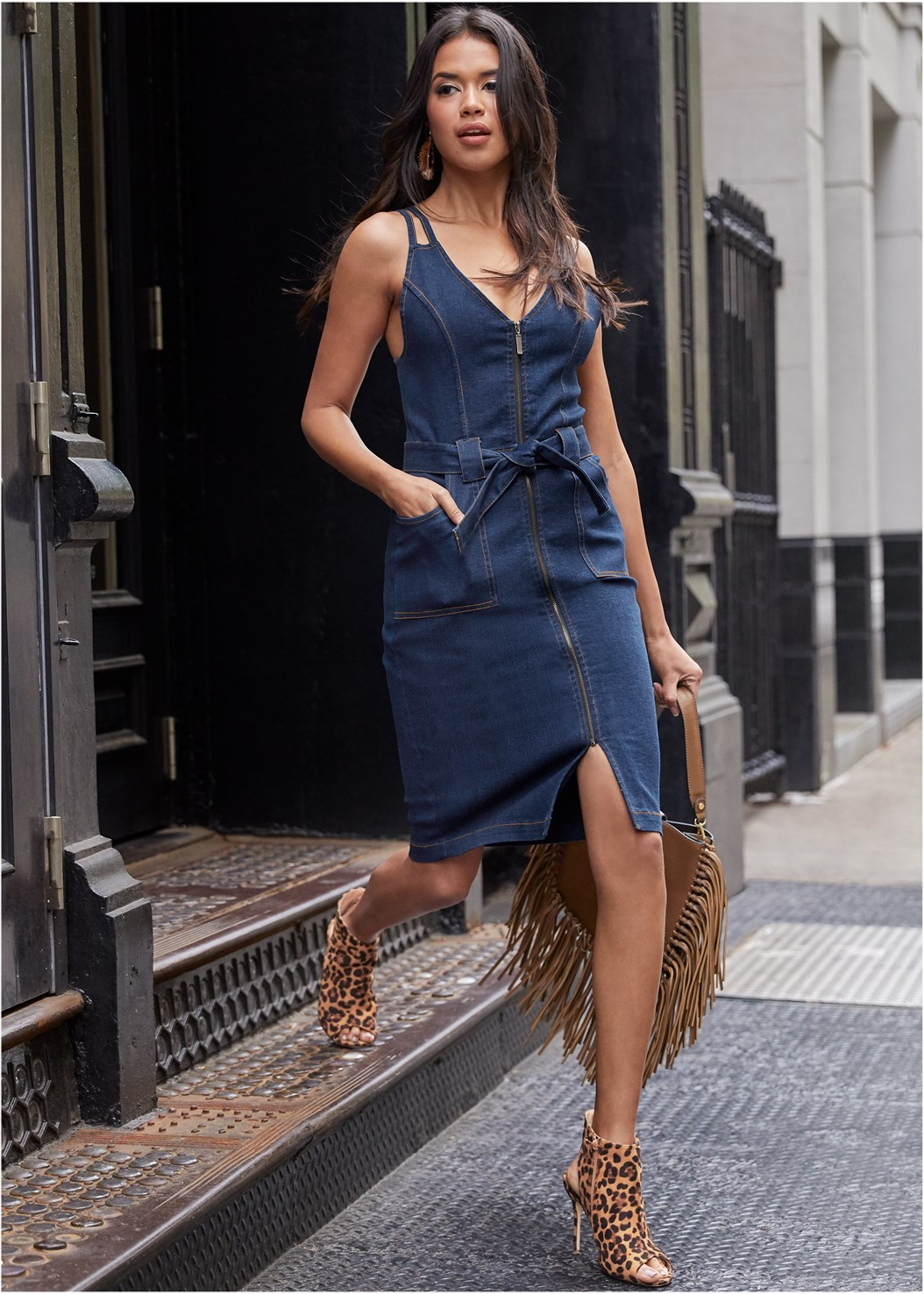Denim Dress With Zipper,Cupid U Plunge Bra,Peep Toe Print Heels,Fringe Handbag,Mixed Earring Set
