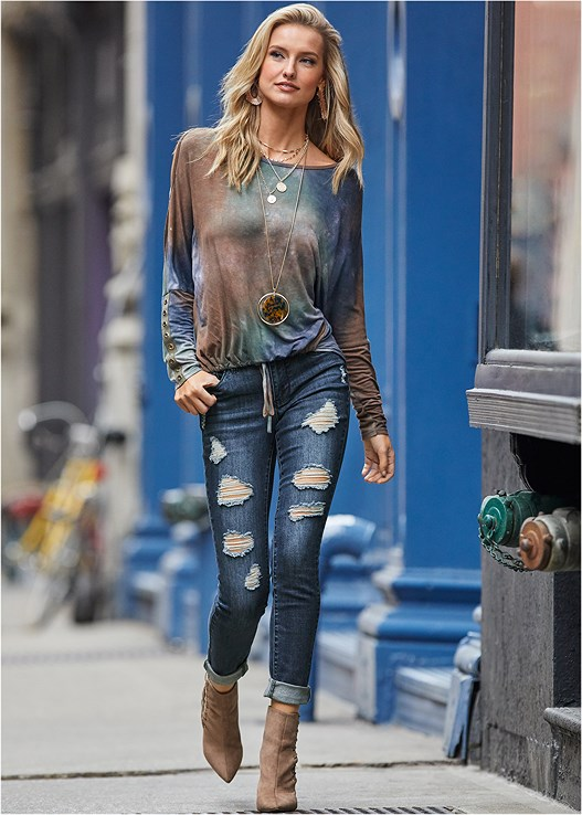 COLD SHOULDER TIE DYE TOP,ACID WASH JEANS,PULLOVER LACE BRA,RUFFLE DETAIL BOOTS,BEADED DROP EARRINGS