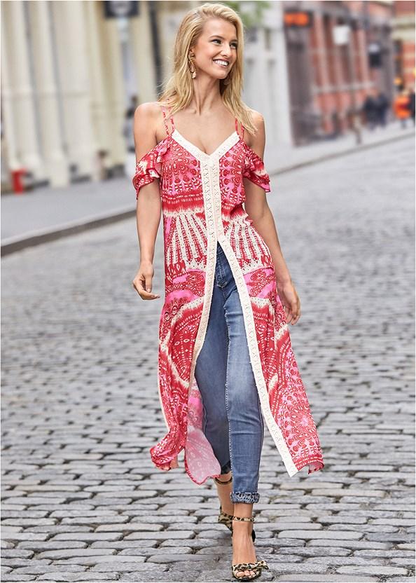 Cold Shoulder Maxi Top,Reversible Jeans,Bow Detail Print Heels