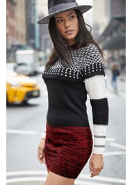 Cropped Front View Cozy Sweater Dress