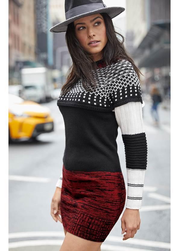 Cozy Sweater Dress,Color Block Hat