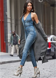 Front View Denim Jumpsuit