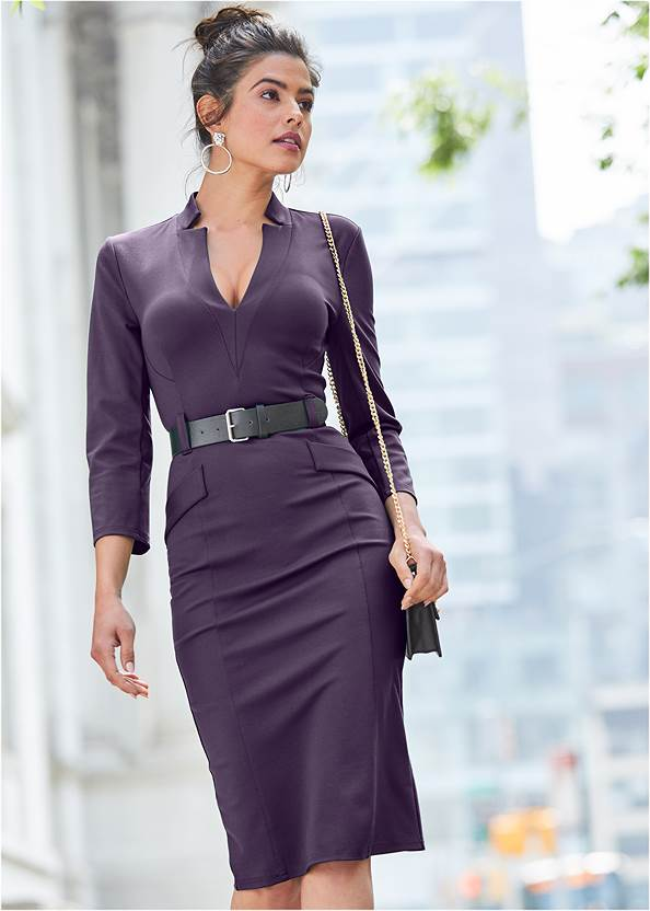Belted Dress,Confidence Seamless Dress,Tiger Detail Earrings,Python Clutch